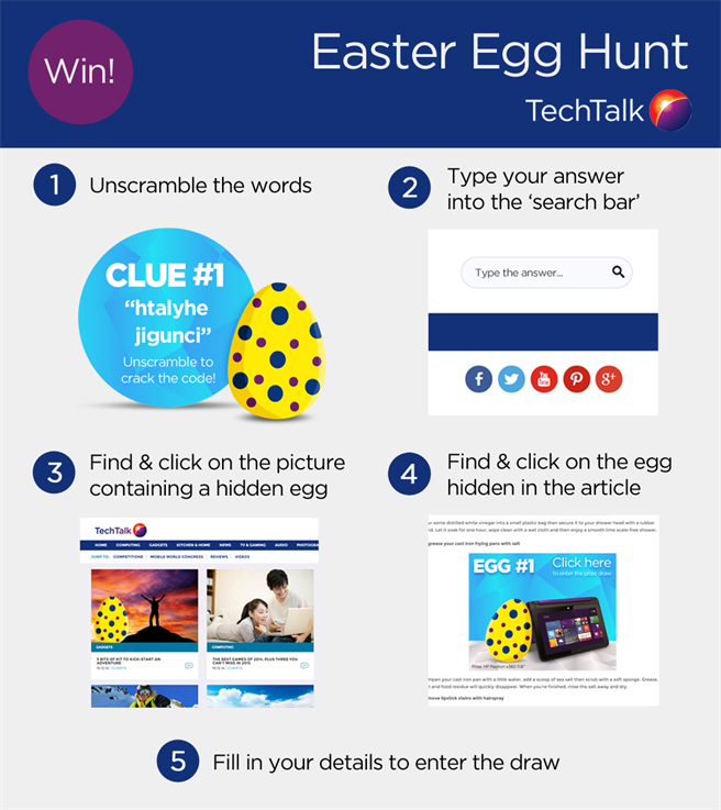 Step 1: Guess the answer to the riddles. Step 2: Type your answer into the search bar on the blog (top right). Step 3: Find the Easter Egg that's hidden in the one of the article images. Step 4: Cilck through to that article and find the next Easter Egg, hidden somewhere in that article. Step 5: Click on the final Easter Egg - you'll be taken to a secret page where you can enter the prize draws.