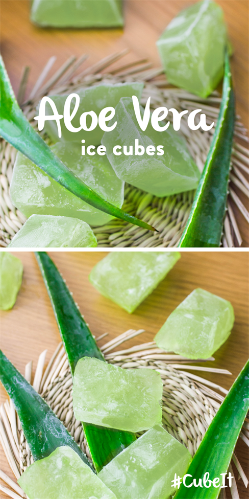 Aloe Vera ice cubes.  TIP – This one's not for eating, but is dead handy to have in the freezer over summer to treat sunburn!  1) Get your hands on a high Aloe Vera gel from your local shop (as near to 100% as possible). 2) Squirt the gel into your ice cube tray and place in the freezer. 3) To treat your sunburn, gently rub the ice cube over the target area until soothed. #CubeIt