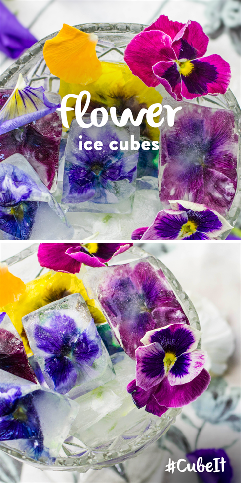 Flower ice cubes. TIP – Add to a cool drink for a fancy garnish! 1) Put edible flowers into your ice cube tray. 2) Pour into your ice cube tray and place in the freezer. #CubeIt