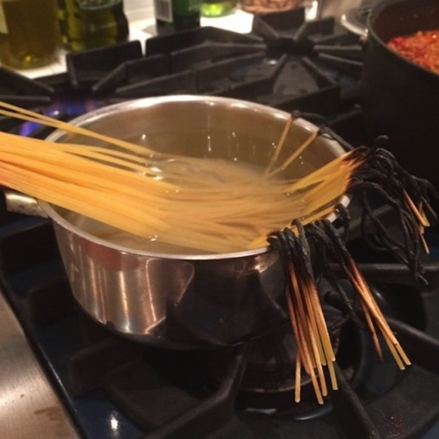 Burnt spaghetti - this is what happens if you don't ease your pasta into the boiling water!
