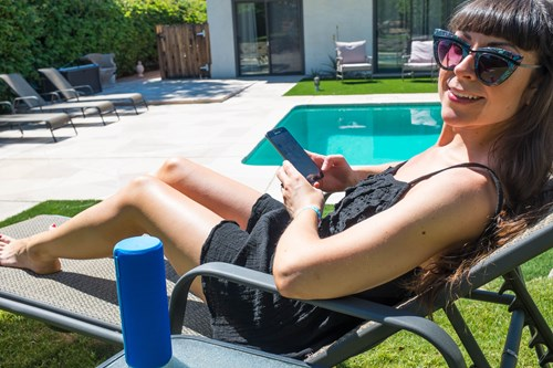 Featuring Kim relaxing by the pool at the rental villa listening to music using the UE Boom Speaker and Samsung S7. Taken with the Fujifilm X100T
