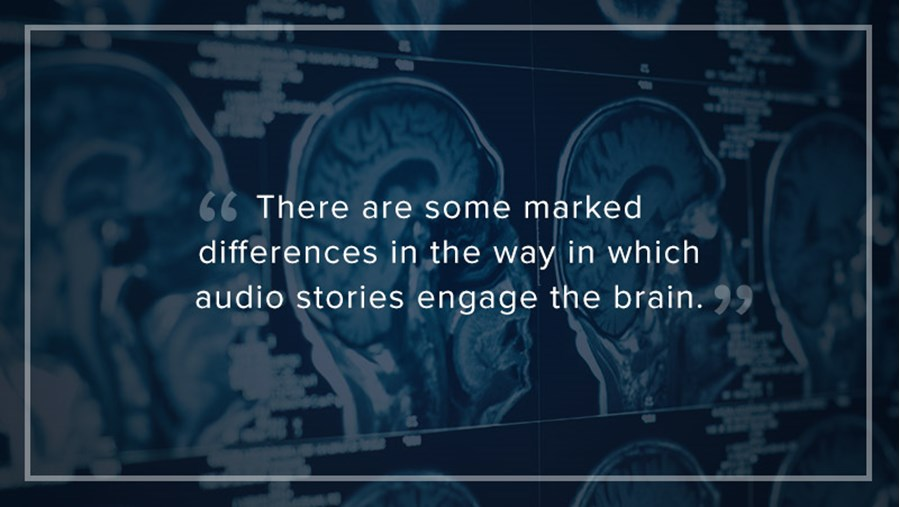 """There are some marked differences in the way in which audio stories engage the brain."""