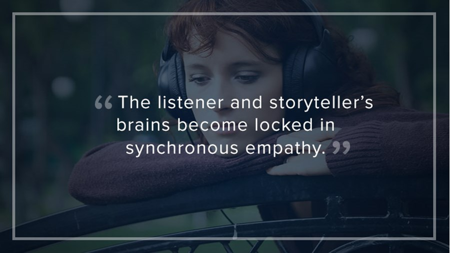 """The listener and storyteller's brains become locked in synchronous empathy."""