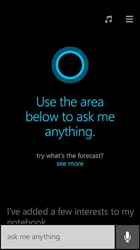 Cortana Question Screen