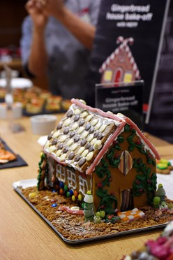 Image of a gingerbread house from the NEFF Slide & Hide oven event