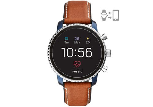 Fossil Q Explorist smartwatch in Blue & Silver Leather