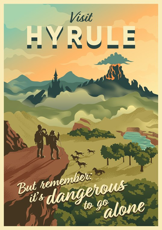 An illustrated travel poster of a scene depicting the videogame series,  The Legend of Zelda