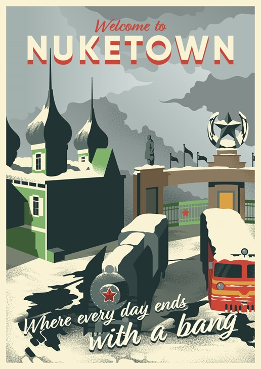 An illustrated travel poster of a scene from Nuketown in Call of Duty