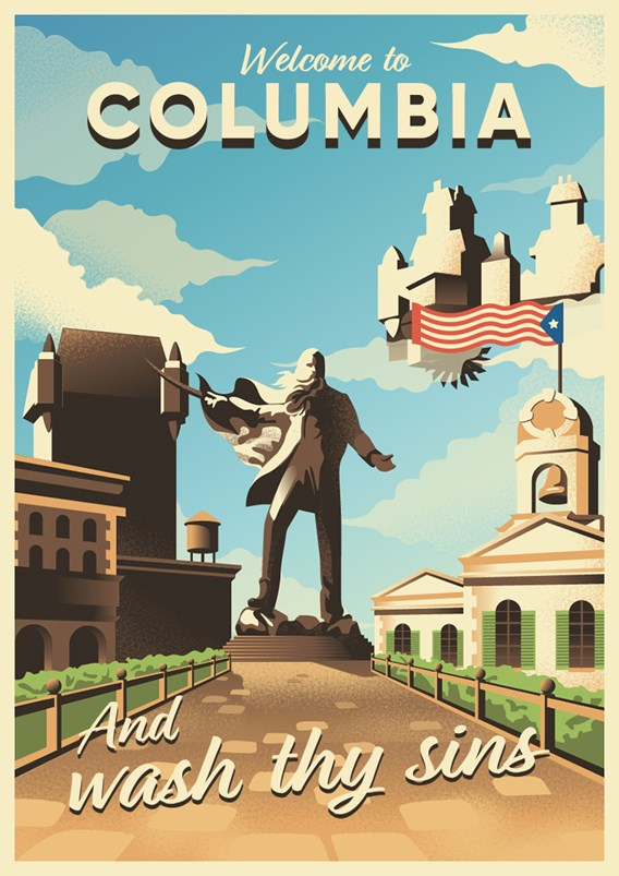 An illustrated poster of Father Comstock from Bioshock: Infinite