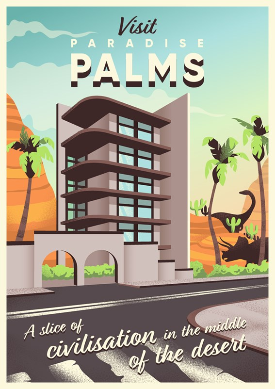 An illustrated travel poster of the Paradise Palms location in Fortnite.