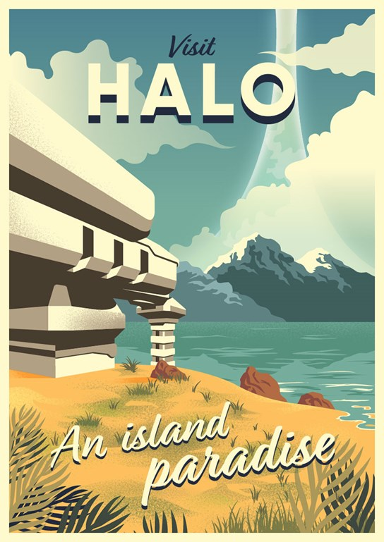 An illustrated travel poster of a scene from Halo: Combat Evolved