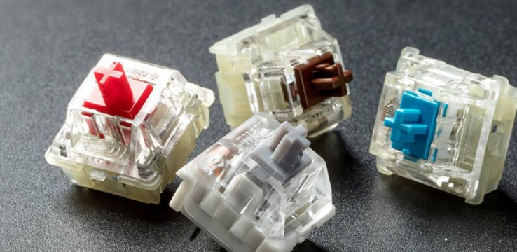An image of four keyboard switches